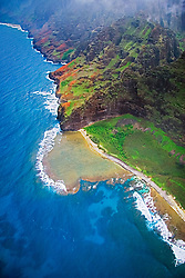 'Fat Man's Misery' rock and coral reef at Nu`alolo Kai or Nualolo Kai beach, only accessible by boat or by air, Na Pali coast, Kauai, Hawaii