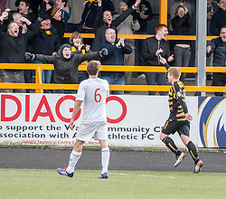Alloa Athletic's Ryan McCord cele scoring their third goal.<br /> Alloa Athletic 3 v 0 Falkirk, Scottish Championship game played today at Alloa Athletic's home ground, Recreation Park.<br /> © Michael Schofield.