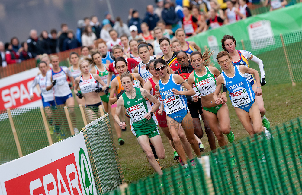 11-12-2011 ATLETIEK: EK 18 TH SPAR CROSS COUNTRY: VELENJE<br /> Adrienne Herzog of Netherland, Fionnuala Britton of Ireland, Nadia Ejjafini of Italy, Dulce Felix of Portugal and Valeria Straneo of Italy during the Senior Women's race during the 18th SPAR European Cross Country Championships Velenje 2011<br /> ©2011-FotoHoogendoorn.nl/Vid Ponikvar