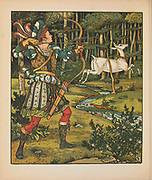 The Hind in the Woods AKA The White Doe or The Doe in the Woods is a French literary fairy tale written by Madame d'Aulnoy. from the book ' The hind in the wood ' by Walter Crane Originally written by Madame d' Aulnoy (Marie-Catherine)