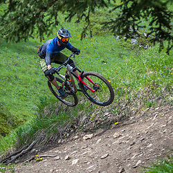 Steve Kovalenko riding T-Dub at Moose Mountain in Alberta, Canada