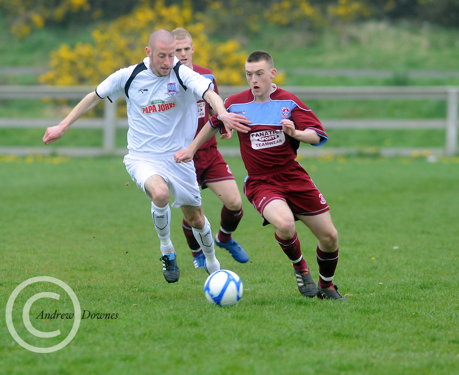 Peter Nolan Cobh Ramblers and Paul Smith(white)  Galway United in Cappa Park in Knocknacarra, GAlway. Photo:Andrew Downes