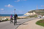 Nahariya the northernmost coastal city in Israel, Established 1935. Rosh Hanikra in the background