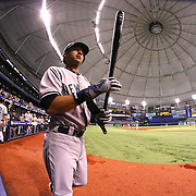New York Yankees shortstop Derek Jeter (2) walks to the on-deck circle during a major league baseball game between the New York Yankees and the Tampa Bay Rays at Tropicana Field on Thursday, Sept. 17, 2014 in St. Petersburg, Florida. (AP Photo/Alex Menendez)