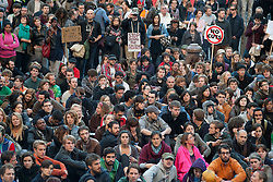 © Licensed to London News Pictures. 15/10/2011. LONDON, UK. Crowds sit in the square outside St Paul's Cathedral. Hundreds of demonstrators took to the streets as part of the Occupy London protest against the banks' handling of the financial crisis. Photo credit: Matt Cetti-Roberts/LNP