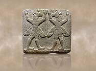"""Hittite relief sculpted orthostat stone panel of Herald's Wall Basalt, Karkamıs, (Kargamıs), Carchemish (Karkemish), 900-700 B.C. Bird-headed, winged figures of human body. Anatolian Civilisations Museum, Ankara, Turkey.<br /> <br /> These figures are called as """"Winged Griffin Demons"""". Embossing is constructed symmetrically. Their hands are on their heads. It is assumed that they carry the heavens. <br /> <br /> Against a brown art background. .<br />  <br /> If you prefer to buy from our ALAMY STOCK LIBRARY page at https://www.alamy.com/portfolio/paul-williams-funkystock/hittite-art-antiquities.html  - Type  Karkamıs in LOWER SEARCH WITHIN GALLERY box. Refine search by adding background colour, place, museum etc.<br /> <br /> Visit our HITTITE PHOTO COLLECTIONS for more photos to download or buy as wall art prints https://funkystock.photoshelter.com/gallery-collection/The-Hittites-Art-Artefacts-Antiquities-Historic-Sites-Pictures-Images-of/C0000NUBSMhSc3Oo"""