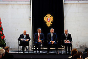 The three former presidents of Portugal, Mario Soares (1986-1996), Ramalho Eanes (1976-1986), Jorge Sampaio (1996-2006) and Cavaco Silva (second from left), current Portuguese President of the Republic, in the ceremonies of the 37 Anniversary of April 25. Date of the revolution in Portugal which destornou the dictatorial regime of Salazar and ordered democracy. Also known as the Carnation Revolution. 25/04/2011 NO SALES IN PORTUGAL