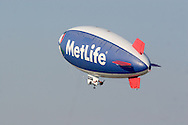 Montgomery, NY - The MetLife blimp Snoopy Two takes off from Orange County Airport in Montgomery on July 26, 2008.