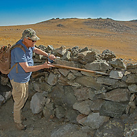 Dr. Robert Bettinger investigates early stone walls  at 12,400' in California's White Mountains, the highest Native American settlement in the United States.