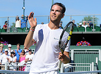 Tennis - 2017 Wimbledon Championships - Week One, Saturday [Day Six]<br /> <br /> Mens singles - Third round match<br /> Gael Monfils (FRA) v Adrian Mannarino (FRA) <br /> <br /> Adrian Mannarino celebrates his win over fellow Frenchman, Monfils on  Court 12<br /> <br /> COLORSPORT/ANDREW COWIE