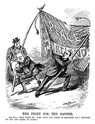 """The Fight for the Banner. John Bull. """"This tires me. Why can't you carry it between you? Neither of you can carry it alone."""" (Sir Edward Carson and John Redmond pull the Peace for Ireland banner in opposite directions causing it to rip)"""