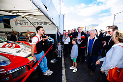 Dino Zamparelli entertains his sponsors | Bristol Sport Racing | #88 Porsche 911 GT3 Cup Car | Porsche Carrera Cup GB - Mandatory byline: Rogan Thomson/JMP - 07966 386802 - 27/09/2015 - MOTORSPORT - Silverstone Circuit - Towcester, England - BTCC Meeting Day 2.
