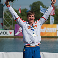 Vladimir Fedosenko from Russia celebrates his victory in the C1 Men 500m Final of the 2011 ICF World Canoe Sprint Championships held in Szeged, Hungary on August 20, 2011. ATTILA VOLGYI