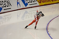 Calgary - December 5, 2009 - Essent ISU World Cup Speedskating at the Olympic Oval in Calgary.  Brittany Schussler of Canada races in the A Division of the women's 1500m event.  Schussler finished 4th in 1:54.85 and was part of a Canadian contingent that took 3 of the top 4 places in the event...©2009, Sean Phillips.http://www.Sean-Phillips.com