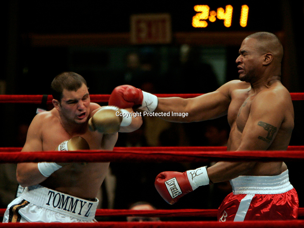 Tom Zbikowski throws a punch at Robert Bell on Saturday night in Madison Square Gardens in New York. Zbikowski defeated Bell by a TKO in 49 seconds.