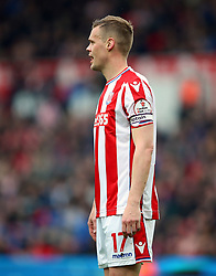 Detail of the Cardiac Risk in the Young badge on the sleeve of Stoke City's Ryan Shawcross shirt