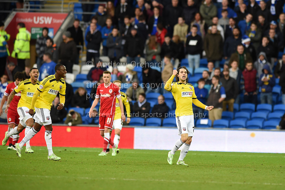 Jota Peleteiro Ramallo of Brentford (r) celebrates after he scores his teams 3rd goal. Skybet football league championship match, Cardiff city v Brentford at the Cardiff city stadium in Cardiff, South Wales on Saturday 20th December 2014<br /> pic by Andrew Orchard, Andrew Orchard sports photography.