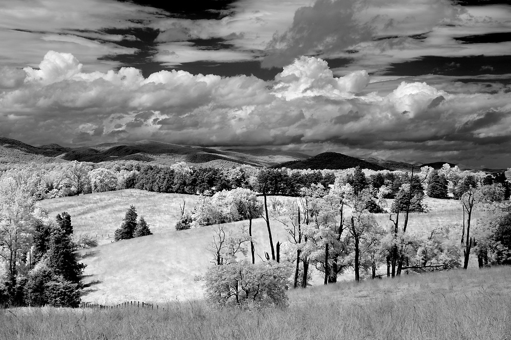 A beautifully classic mountain scene photographed with infrared in Albemarle County, Virginia. Photo/Andrew Shurtleff