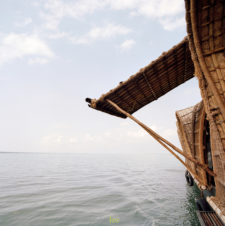 The side wall of a houseboat in Kerala, India
