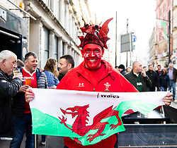A Wales fan enjoying the pre match atmosphere<br /> <br /> Photographer Simon King/Replay Images<br /> <br /> Six Nations Round 1 - Wales v Italy - Saturday 1st February 2020 - Principality Stadium - Cardiff<br /> <br /> World Copyright © Replay Images . All rights reserved. info@replayimages.co.uk - http://replayimages.co.uk