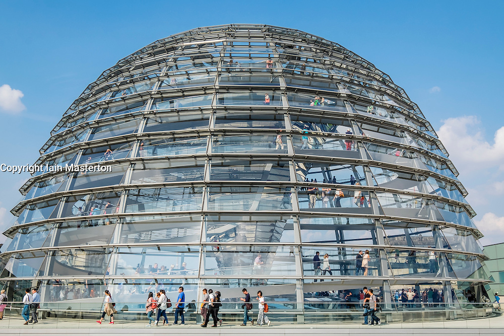 The glass dome above the Reichstag parliament building in Berlin Germany