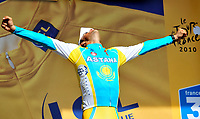 CYCLING - TOUR DE FRANCE 2010 - PAUILLAC (FRA) - 24/07/2010 - PHOTO : VINCENT CURUTCHET / DPPI - <br /> STAGE 19 - INDIVIDUAL TIME TRIAL - ALBERTO CONTADOR (ESP) / ASTANA / YELLOW