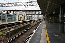 © Licensed to London News Pictures. 15/03/2020. London, UK. Empty platforms at Stratford station amid an increased number of coronavirus (COVID-19) cases in the UK. 21coronavirus victims have died and 820 cases have tested positive of the virus in the UK of which 167 in London. Photo credit: Dinendra Haria/LNP