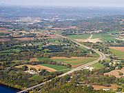 Aerial view of Highways 18 & 35 along the Wisconsin River, with Prairie cu Chien, WI in the background.