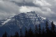 Stormy Skies over an imposing mountain near Jasper, Alberta, Canada