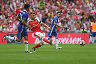 Arsenal's Aaron Ramsey(8) passes the ball during the The FA Cup final match between Arsenal and Chelsea at Wembley Stadium, London, England on 27 May 2017. Photo by Shane Healey.