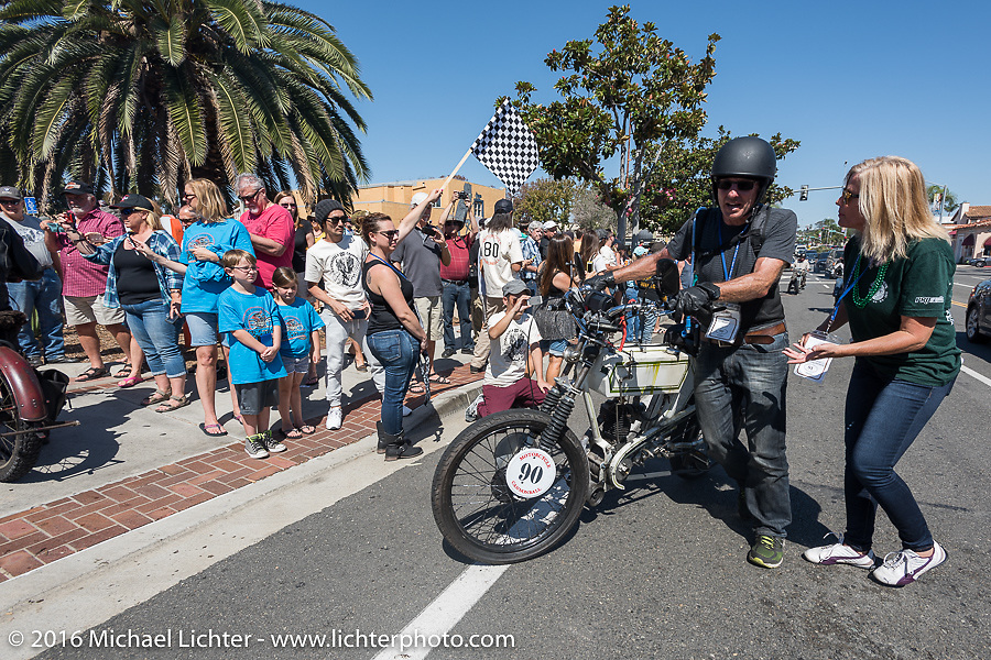 3,400 miles from the Atlantic to the Pacific - The journey is over. Steve Norton of England riding his single-speed, single-cylinder 1904 Rex class-1 bike crosses the finish line of the Motorcycle Cannonball Race of the Century. Stage-15 ride from Palm Desert, CA to Carlsbad, CA. USA. Sunday September 25, 2016. Photography ©2016 Michael Lichter.