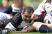 Twickenham. England. RFU Stadium, Surrey. <br /> Photo Peter Spurrier25/05/2003<br /> 2003 - Rugby - England v Barbarians.<br /> Raphael Ibanez touch'e down for the Baa Baas         [Mandatory Credit: Peter SPURRIER/Intersport Images]