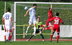 Bojan Dukic of Hit Gorica vs goalkeeper of Interblock Matjaz Rozman at 28th Round of Slovenian First League football match between NK Interblock and ND Hit Gorica ZAK Stadium, on April 11, 2009, in Ljubljana, Slovenia. Gorica won 2:1. (Photo by Vid Ponikvar / Sportida)