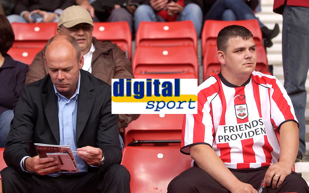 Photo: Daniel Hambury.<br /> Southampton v Wolves. Coca Cola Championship.<br /> 06/08/2005.<br /> Southampton's technical director, Sir Clive Woodward, and a Saints fan don't have much to say to one another.