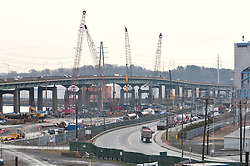 View East of Old Eastbound Approach on the left and the New Pearl Harbor Memorial Bridge Foundation and NB West Approach Construction Project, center of Image. Forbes Avenue & Tomlinson Bridge to the right. Part of the I-95 New Haven Corridor  Harbor Crossing Improvement Program. First Progress Photography Capture, ConnDOT Contract B1, Project 92-618.