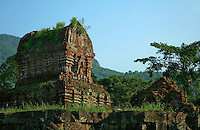 My Son was built by the Champa kingdom which ruled Vietnam from 1700 AD. Influenced by Hinduism, they built temple complexes up and down the area to honor their gods and to bury their kings. My Son developed between the 4th century and the 13th century, is one of the better-preserved of these sites. Bricks were used to build the temples without the aid of mortar.  Sculptures of gods, priests, animals, and scenes of battle and devotion adorn the walls.