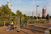 Locked sports apparatus in the Queen Elizabeth Olympic Park which houses West Ham United soccer stadium during the coronavirus pandemic on the 7th May 2020 in London, United Kingdom. The Olympic sports venues nearby include the London Stadium, and Lee Valley Velopark.