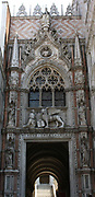 Detail of the Doge's Palace exterior, Venice. Built in Venetian Gothic style the palace was the residence of the Doge of Venice (the supreme authority of the rublic of Venice). It is now open as a museum.