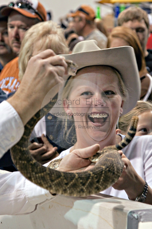 A women reacts to Jaycee volunteer snake handler showing the crowd a western diamondback rattler during the 51st Annual Sweetwater Texas Rattlesnake Round-Up March 14, 2009 in Sweetwater, Texas. During the three-day event approximately 240,000 pounds of rattlesnake will be collected, milked and served to support charity.