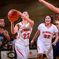 121914       Cable Hoover<br /> <br /> Gallup Bengal Shenoah Bengay (22) takes a shot as she gets clear of the Rio Rancho defense Saturday at Gallup High School.