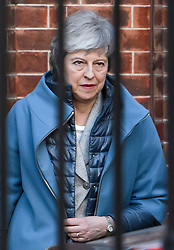 © Licensed to London News Pictures. 21/02/2019. London, UK. British Prime Minister THERESA MAY is seen leaving Downing Street via a back exit, to head to her constituency for the weekend.. Conservative and Labour MPs have resigned form their respective parties . and joined newly formed The Independent Group, a breakaway campaign group formed by seven defecting Labour MPs. Photo credit: Ben Cawthra/LNP
