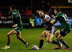 Cory Allen of Ospreys threads through a grubber<br /> <br /> Photographer Simon King/Replay Images<br /> <br /> Guinness PRO14 Round 7 - Ospreys v Connacht - Friday 26th October 2018 - The Brewery Field - Bridgend<br /> <br /> World Copyright © Replay Images . All rights reserved. info@replayimages.co.uk - http://replayimages.co.uk