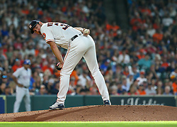 July 28, 2018 - Houston, TX, U.S. - HOUSTON, TX - JULY 28:  Houston Astros starting pitcher Justin Verlander (35) looks toward first base during the baseball game between the Texas Rangers and Houston Astros on July 28, 2018 at Minute Maid Park in Houston, Texas.  (Photo by Leslie Plaza Johnson/Icon Sportswire) (Credit Image: © Leslie Plaza Johnson/Icon SMI via ZUMA Press)