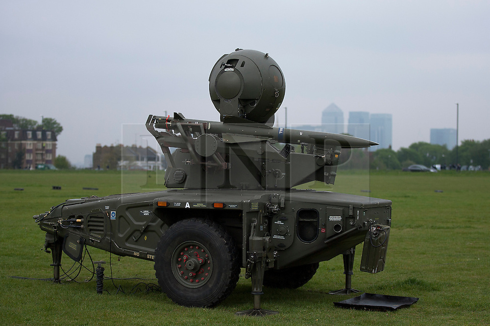 © Licensed to London News Pictures. 02/05/2012. LONDON, UK. A Rapier air defence missile system of Sphinx Battery, 16 Regiment Royal Artillery, is seen on Blackheath in London today (02/04/12). As part of an exercise testing military procedures and security across London for the 2012 Olympic Games a Rapier Surface to Air Missile System (SAM) has been deployed to Blackheath in South East London. Photo credit: Matt Cetti-Roberts/LNP