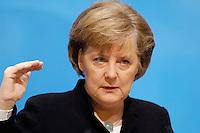 23 JAN 2006, BERLIN/GERMANY:<br /> Angela Merkel, CDU Bundesvorsitzende und Bundeskanzlerin, waehrend einer Pressekonferenz, Konrad-Adenauer-Haus<br /> Angela Merkel, Federal Chancellor of Germany, during a press conference, Konrad-Adenauer-Haus<br /> IMAGE: 20060123-02-005