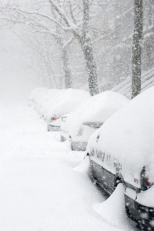 Cars buried in snow on the Upper West Side of Manhattan, New York City