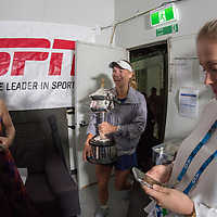 Caroline Wozniacki of Denmark during an interview after winning the women's singles championship match during the 2018 Australian Open on day 13 in Melbourne, Australia on Saturday night January 27, 2018.<br /> (Ben Solomon/Tennis Australia)