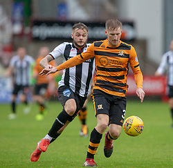 Dunfermline's Andy Ryan and Alloa Athletic's Liam Dick. Half time : Dunfermline 1 v 1 Alloa Athletic, Irn Bru cup game played 13/10/2018 at Dunfermline's home ground, East End Park.