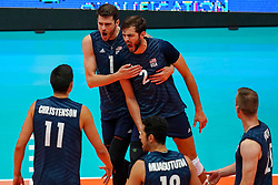 11-08-2019 NED: FIVB Tokyo Volleyball Qualification 2019 / Netherlands - USA, Rotterdam<br /> Final match pool B in hall Ahoy between Netherlands vs. United States (1-3) and Olympic ticket  for USA / Matthew Anderson #1 of USA, Aaron Russell #2 of USA