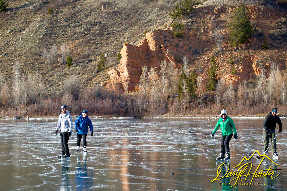 Ice skaters, hockey game, Frozen Lake, Jackson Hole, Wyoming